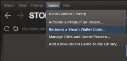 Redeem Steam code in Steam