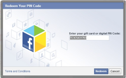 Redeem Facebook code on Facebook