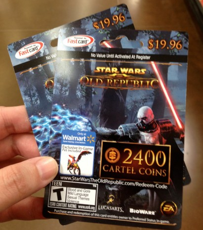 Star Wars The Old Republic card giftcards